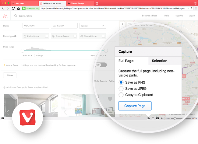 Vivaldi 1.7 comes with making it easy to take, edit and share screenshots from your browser